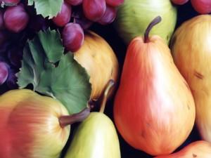 Postal: Peras y uvas