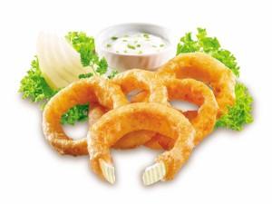 Postal: Aros de cebolla con salsa mayonesa