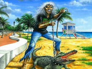 Postal: Eddie con un cocodrilo en la playa