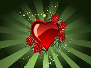 Postal: Rosas en el corazón