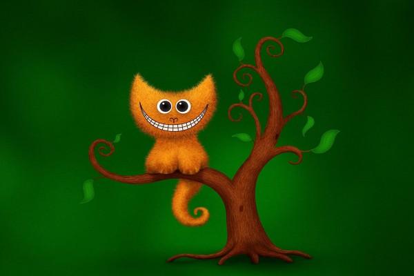 Gato sonriente en un árbol
