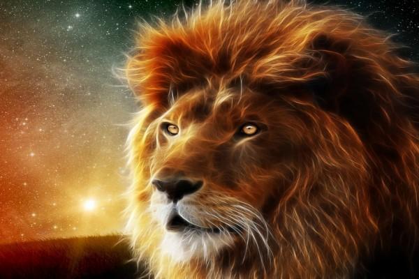 Un león 3D con el firmamento de fondo