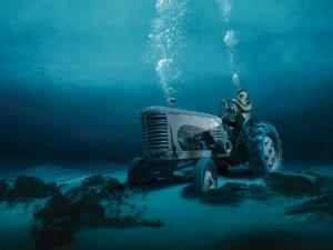 Postal: Un granjero en el océano