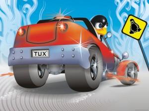 Postal: Tux a toda velocidad