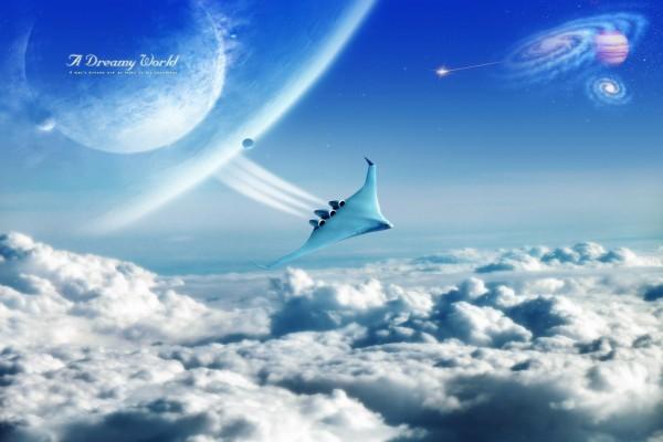 Nave espacial en un mundo de ensueño