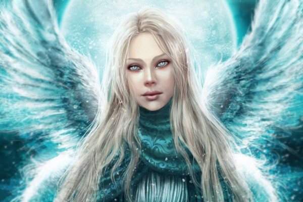 Un ángel de color celeste