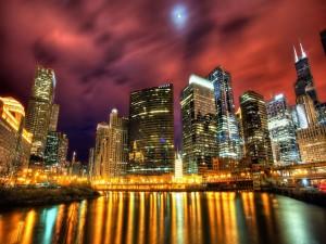 Postal: Rascacielos a la luz de la luna