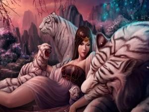 Chica entre tigres