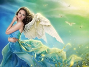 Postal: Una joven ángel