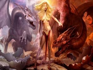 Postal: Hechicera con sus dragones