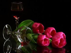 Postal: Copas y tulipanes