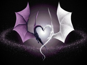 Dragones formando un corazón