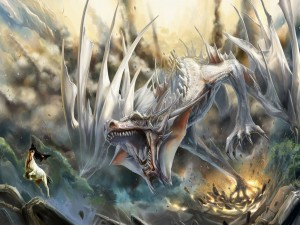 Postal: Gran dragón blanco