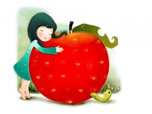 Postal: Niña abrazada a una manzana