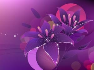 Postal: Flores violetas