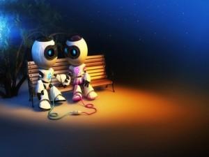 Postal: Amor entre robots