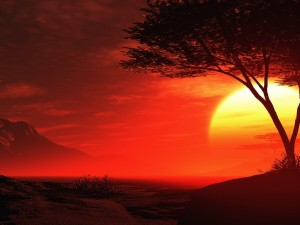 Postal: Cielo rojo