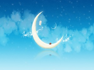 Postal: Mariquita en la luna