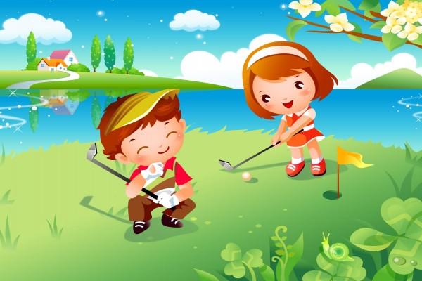 Niños jugando al golf