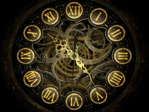 Postal: Reloj con números romanos