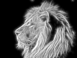 León abstracto en blanco y negro