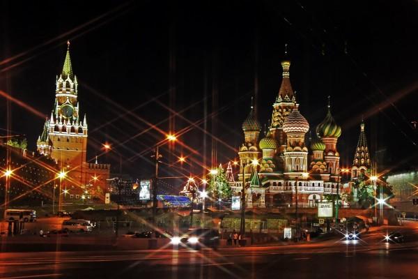 Luces en la noche de Moscú