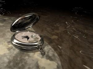Postal: Reloj y agua