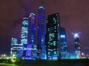 Postal: Noche en la ciudad de Moscú