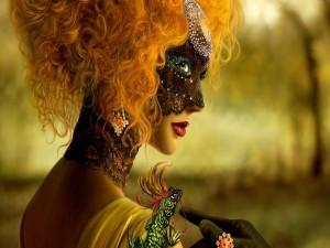 Mujer y lagarto