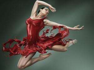 Bailarina con vestido de pintura