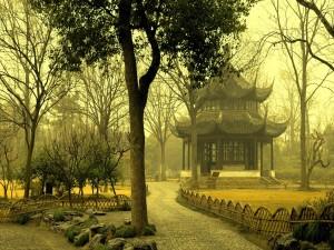 Postal: Pabellón oriental en el parque
