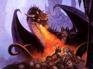 Dragona protegiendo su nido