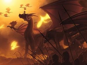 Postal: Batalla milenaria con dragones