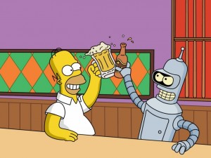 Postal: Homer y Bender