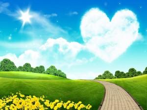 Postal: Corazón en el aire