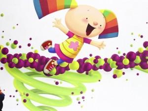 Una niña con coletas de colores