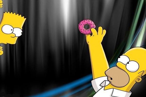 Homer, Bart y una rosquilla