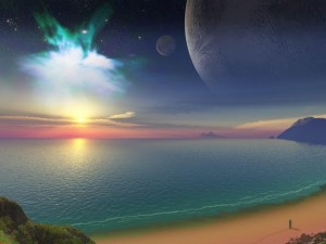 Playa con vistas al espacio exterior