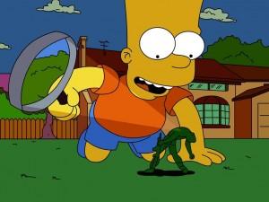 Postal: Bart Simpson con una lupa