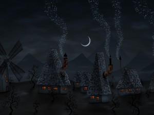 Pueblo con chimeneas musicales