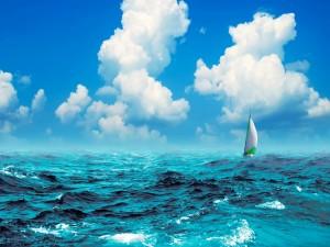 Postal: Velero en alta mar