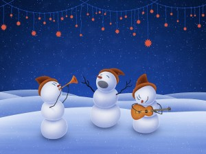 Postal: Muñecos de nieve cantando