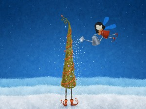 Postal: Hada regando su árbol de Navidad