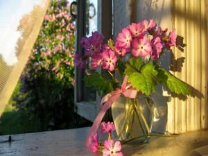 Postal: Jarrón con flores