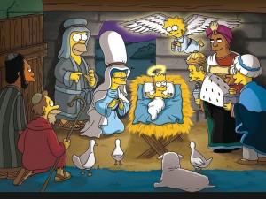 Postal: Nacimiento al estilo Simpsons