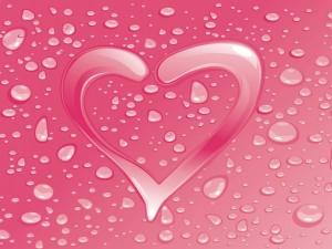 Postal: Corazón rosa de agua