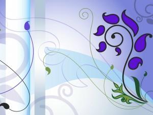 Postal: Composición lila