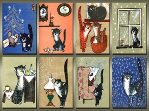 Postal: Amor por los gatos