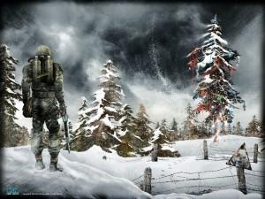 Postal: Halo en Navidad