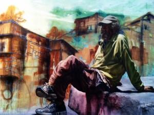 Sentado en la calle